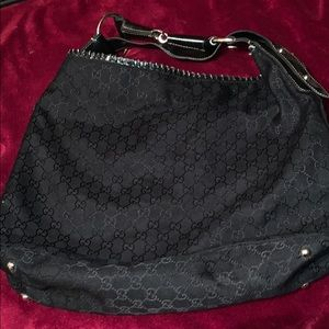 Large Black Bag GG Pattern